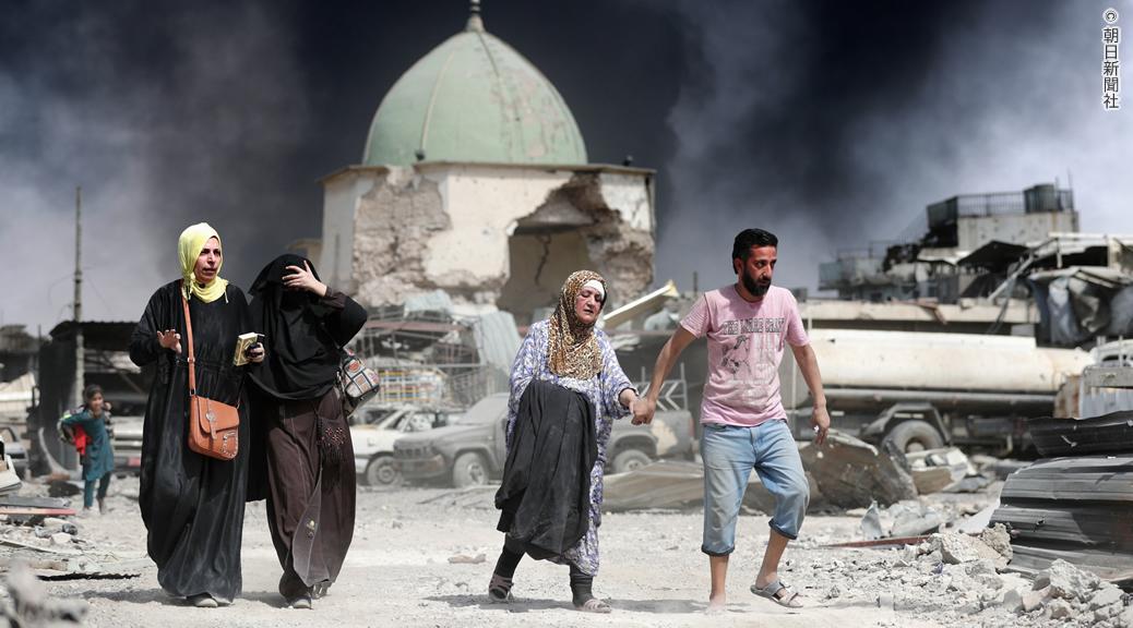 ISが爆破したヌーリ・モスクの敷地