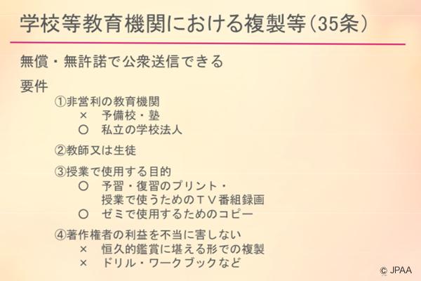 学校等教育機関における複製等(35条)